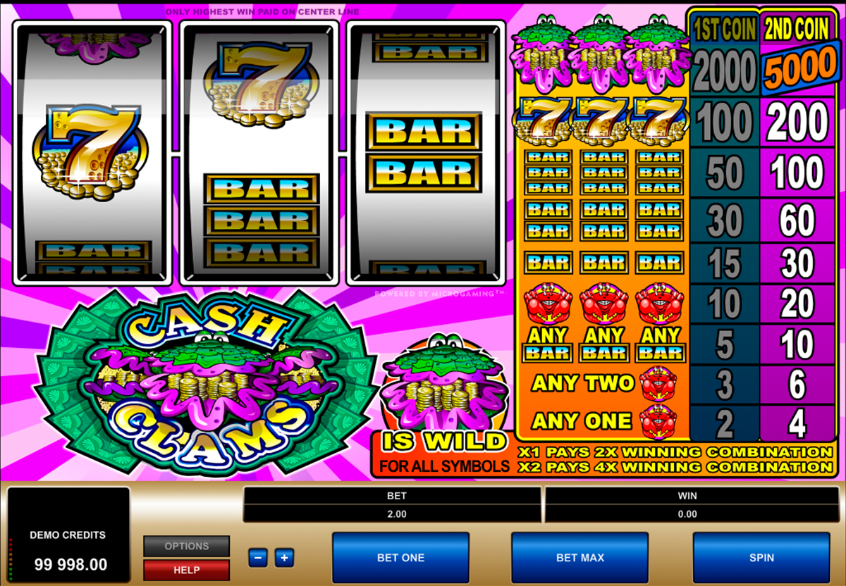 cash clams microgaming online slots