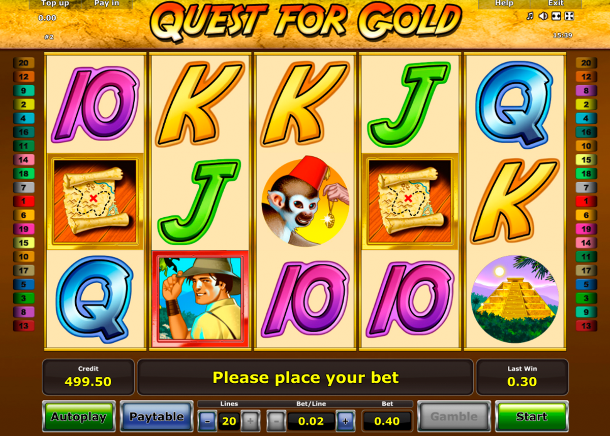 quest for gold novomatic online slots