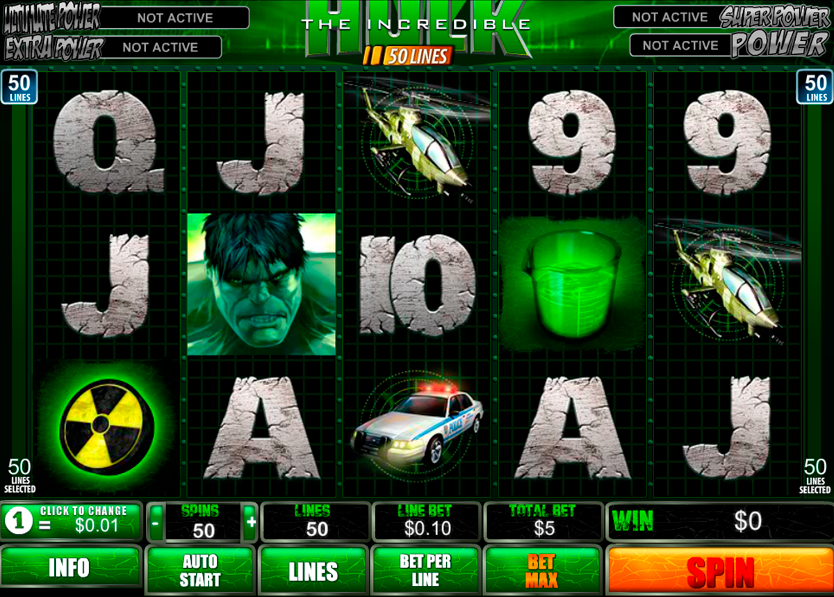 the incredible hulk 50 lines playtech online slots